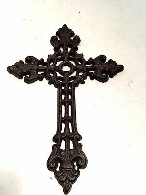 Cross Christian Crucifix Cast Iron Gothic Filigree Wall Hanging Vintage Style