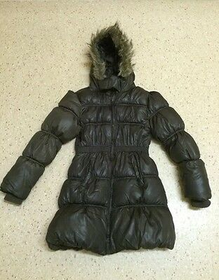 Girls Brown Hooded Puffa Coat by Young Dimensions 9-10 Years