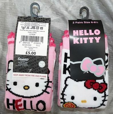 2 Prs Girls Hello Kitty Socks Pink & White Cotton Size 6-8.5 Bnwt Rrp Tagged £5