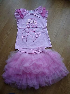 Disney Store Pink Cinderella T-shirt and Tutu set 9-10 Years