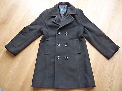 "Girls' Black Wool / Nylon Coat Size 71cm/28"" Chest Good Condition"