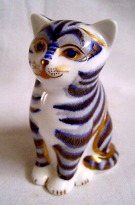 1995 Royal Crown Derby Imari Cat Paperweight - Pristine