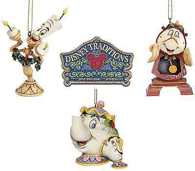 Disney Beauty & The Beast Hanging Christmas Tree Decorations Set Of All 3