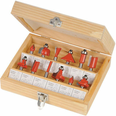 "12PC 1/4"" Professional Shank TCT Tipped Router Bit Set With Wooden Case"