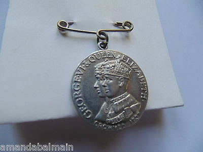 1937 Long May They Reign King George VI & Elizabeth Coronation Metal & Pin - OBO