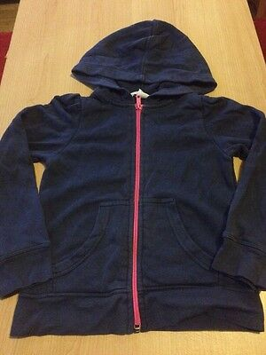Girls Navy Blue Zip Through Hooded Jacket With Pink Zip And Pocket 4-6 Years US