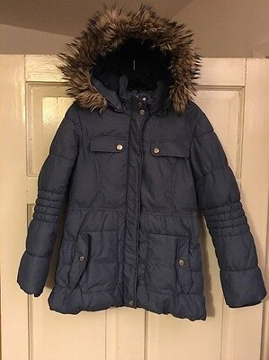 Excellent Girls Geox Respira Blue Quilted Fur Trim Hooded Jacket 8 Years