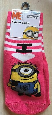 BNWT New Despicable Me Minions Pink Slipper Socks Child's Size 6-8 EUR 23-26