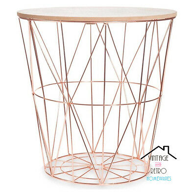 Copper Rose Gold Scandi Geometric Metal Wire Wood Occasional Modern Side Table