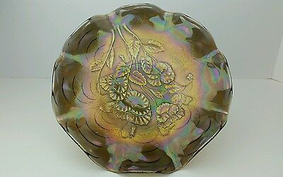 "Carnival Glass Imperial Pansy Arcs Ext. Smoke Iridescent 9.5"" Low 8 Ruffle Plate"