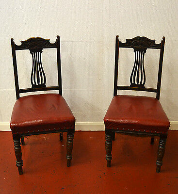 2 Antique Occasional / Hall Chairs Spring and Hair Seats - 961