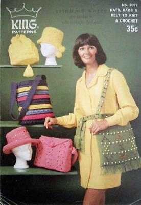 Vintage KING PATTERNS No. 2051 HATS, BAGS & BELT TO KNIT & CROCHET