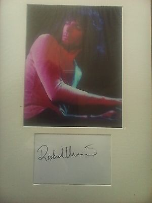 GENUINE hand signed Richard Wright (pink floyd) white card with photo aftal