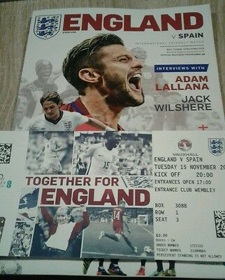 England v Spain official match day programm  with VIP ticket 15 Nov 16