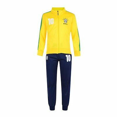 Football Tracksuit Bottom Boys New Top Training Kit Set Size Age 4-12 Y Brazil