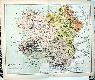 Original Victorian 1868 Coloured Sheet Map Folded: Connaught