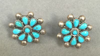 OLD Zuni Sterling Silver Screw Back Turquoise Cluster Earrings