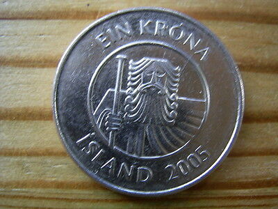 2005  Iceland 1 krone Coin collectable