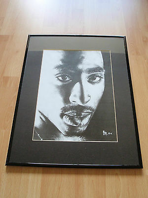 "ORIGINAL TUPAC SHAKUR FRAMED PICTURE 20"" x 16"" Rare COLLECTABLE 2Pac ART Hip Hop"