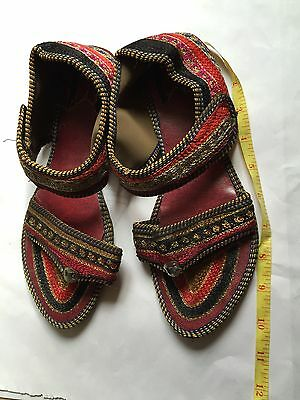 Traditional Indian Sandals Shoes 5/6 Embroidery Stunning Rainbow Colours Velcr
