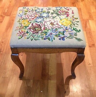Victorian antique vintage tapestry wooden bedroom dressing piano stool seat