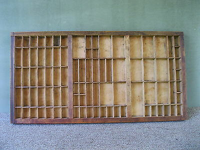 Antique Type Tray Vintage Primitive Printers' Drawer Shadow Box, 89 Sections
