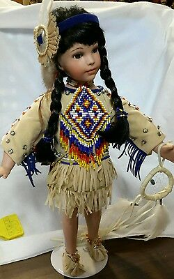 Porcelain American Indian Doll with Dream Catcher 1999
