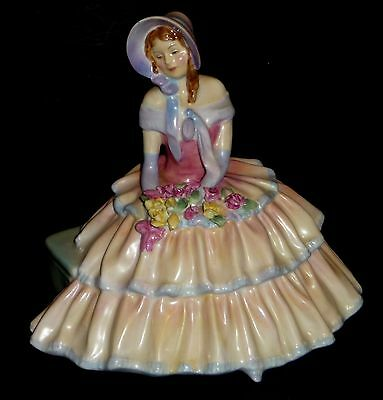 Royal Doulton Figurine Day Dreams Lady Holding 10 Roses Vintage