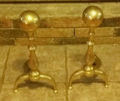 Vintage Brass Cannonball Fireplace Andirons or Fire Dogs Mid Century Modern