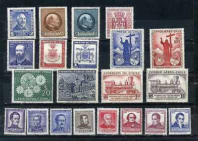 Chile 1954-1956 Year Set Of 21 Stamps Mnh