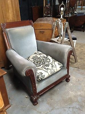 Pair Of Vintage Club Armchairs On Ball & Claw Feet