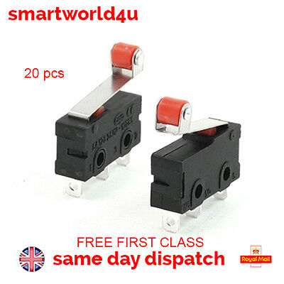 20 PCS Mini Micro Limit Switch Roller Lever Arm SPDT Snap Action First Class