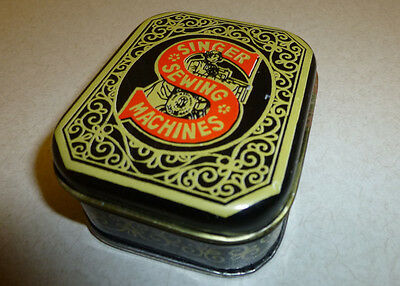 Singer Sewing Machines Miniature Sewing Kit Tin Thread Thimble Needles Scissors