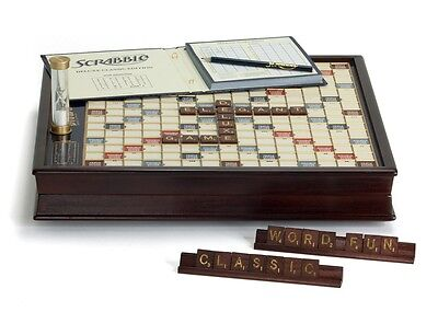 Scrabble Deluxe Wooden Edition Collectors Classic Board Game