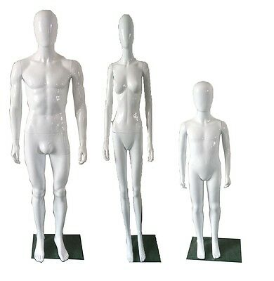 Male Female Child Plastic Faceless EggHead Mannequin full body High Gloss finish