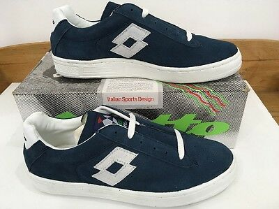 Vintage LOTTO Meazza Trainers 80s Casuals Uk 8 Eu 42 US 9 Blue Suede Sneakers OG