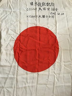 """WWII Original Japanese Silk Army Flag  27"""" X 37"""" Signed and Dated 1945.12.30"""