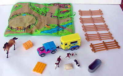 Breyer mini whinnies vehicle horse trailer playmat fence hay watr trough cow dog