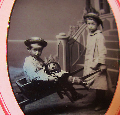 SUPER RARE Tintype Photo LOT - Children Halloween Jack o Lantern Pumpkin ca 1880