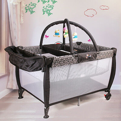 BLACK ALL IN ONE BABY PORTABLE TRAVEL COT BASSINET Portacot PLAYPEN WITH