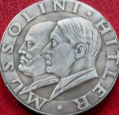 Hitler And Mussolini Exonumia Commemorative Third Reich Coin 1938