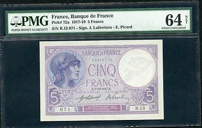 1917 FRANCE 5  FRANCS PMG 64 NET PCK #133b FIRST YEAR OF ISSUE PLEASE LQQK!!!*