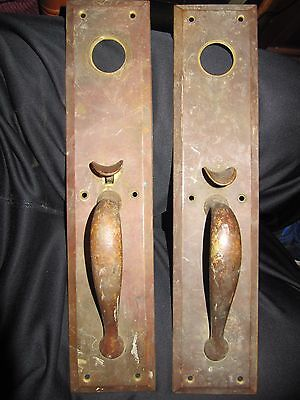 "Antique Brass Door Knob Back Plates Thumb Latch Massive 14-1/2"" Long 3"" Wide"