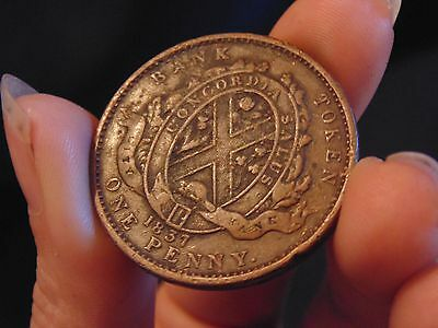 1837 Old ANTIQUE COIN - Canadian City Bank One Penny Token Lower Mint: 120,000