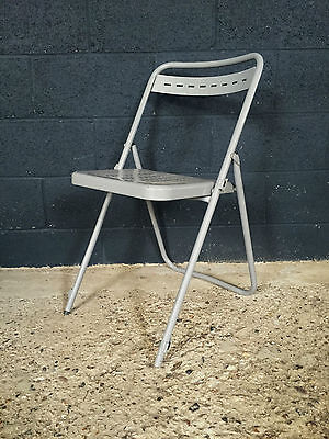 Superb Vintage Industrial French Grey Folding Cafe Chair