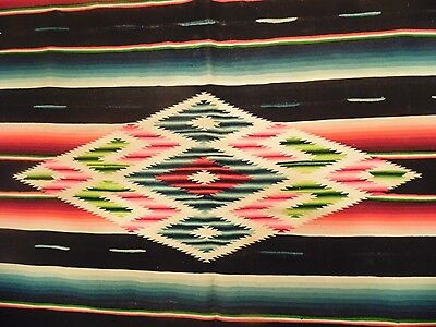 LARGE Antique Mexican Serape Saltillo Blanket RARE BLACK Stripes EARLY ONE 86x44