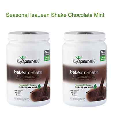 FREE POST Isagenix IsaLean Hi Protein CHOCOLATE MINT Flavoured Shake Canister x2