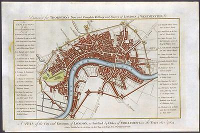 c1784 Original Antique Map - A PLAN OF THE CITY AND ENVIRONS OF LONDON