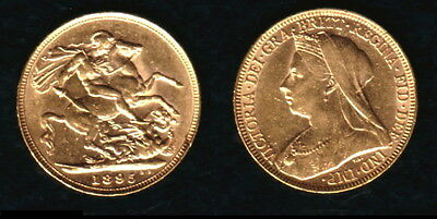 1895 Melbourne Specific Dated Victoria Veiled Head Gold Sovereign--Lustrous