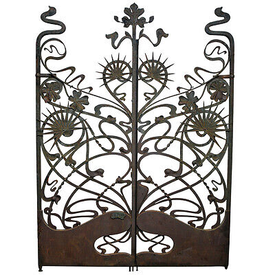 Art Nouveau Antique Vintage Wrought Iron Garden Gates Rare, Circa 1895